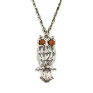 Jewelry - Vintage Owl Pendant Necklace Silver Orange Eyes